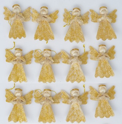 "Abaca Argel Angel Natural w/Gold Dust 2"" Set of 12"