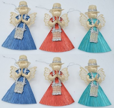 "Abaca Angel Messenger Ornament Assorted 3"" Set of 6"