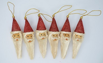 "Santa Claus Head Ornament 4"" Set of 6"