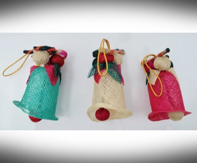 Sinamay Bell with Candy Cane Ornament Set of 3