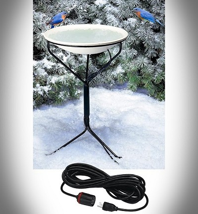 "Heated 20"" Bird Bath with Metal Stand and 50 ft. Lock-N-Dry Power Supply Cord"