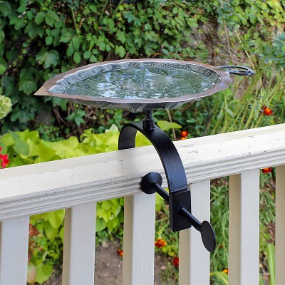 Achla Aspen Leaf Birdbath with Over Rail Bracket