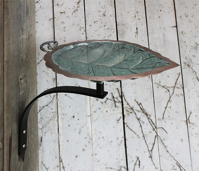 Achla Aspen Leaf Birdbath with Wall Bracket