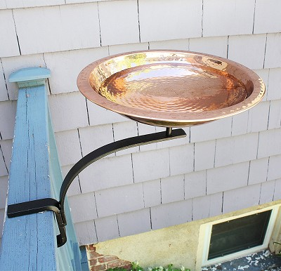 Achla Hammered Copper Birdbath with Rail Bracket