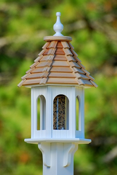 "10"" Gazebo Bird Feeder Cypress Shingle"