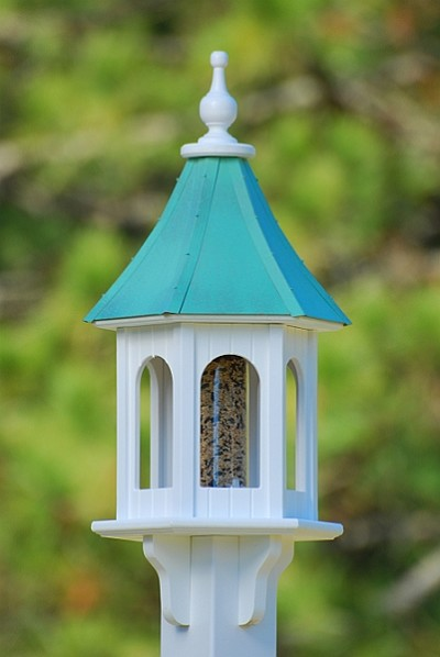 "Fancy Home Products 10"" Gazebo Bird Feeder Patina Copper"