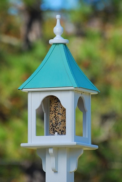 "Fancy Home Products 10"" Square Gazebo Bird Feeder Patina Copper"