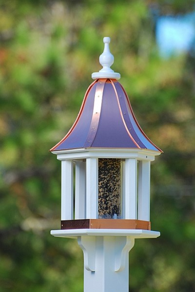 "12"" Gazebo Bird Feeder Bright Copper Columns"