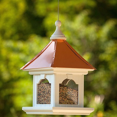 "12"" Hanging Gazebo Bird Feeder Bright Copper Roof"