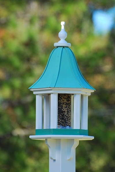 "Fancy Home Products 12"" Gazebo Bird Feeder Patina Copper Columns"