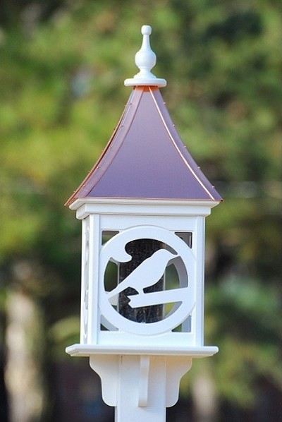 "Fancy Home Products 12"" Square Gazebo Bird Feeder Bright Copper Bird"