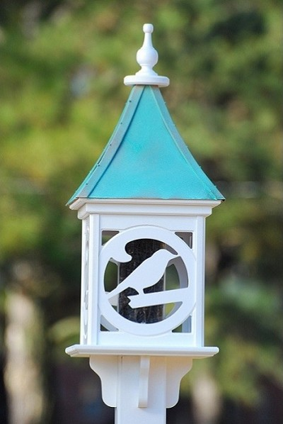 "Fancy Home Products 12"" Square Gazebo Bird Feeder Patina Copper Bird"