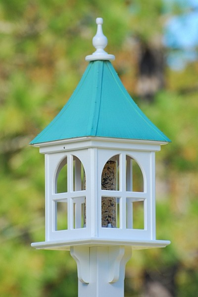 "Fancy Home Products 12"" Square Gazebo Bird Feeder Patina Copper"