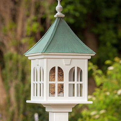 "14"" Windows Gazebo Bird Feeder Patina Copper"