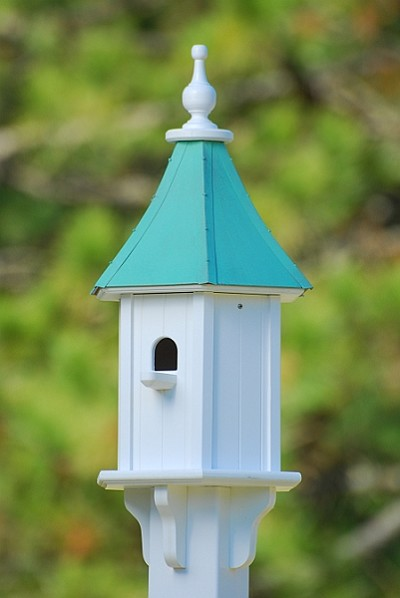 "10"" Blue Bird Birdhouse 1 Compartment Perch Patina Copper"