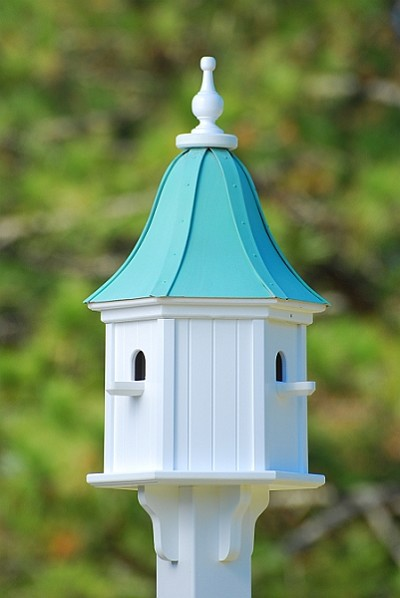 "12"" Dovecote Birdhouse 3 Compartment Perches Patina Copper"