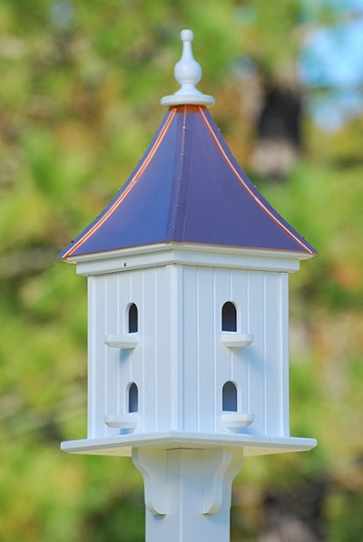"Fancy Home Products 12"" Dovecote Square Birdhouse 8 Compartments, Perches, Bright Copper Roof"