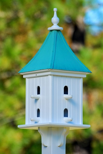 "Fancy Home Products 12"" Dovecote Square Birdhouse 8 Compartments, Perches, Patina Copper Roof"