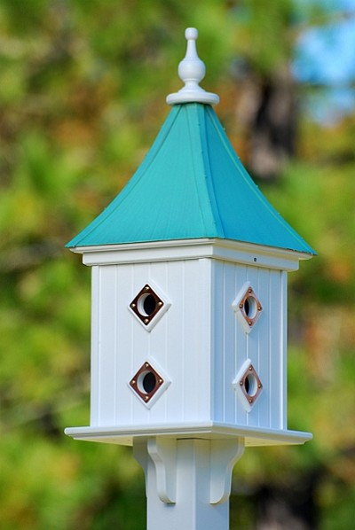"Fancy Home Products 12"" Dovecote Square Birdhouse 8 Compartments, Portals, Patina Copper Roof"