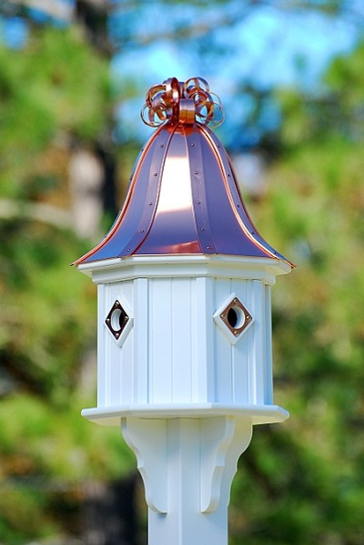 "14"" Dovecote Birdhouse 4 Compartment Portals Bright Copper Curly"