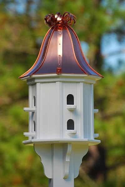 "14"" Dovecote Birdhouse 8 Compartments, Perches, Bright Copper Curly"