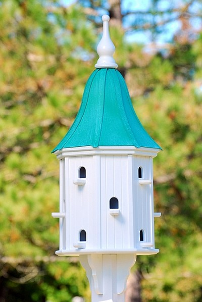 "16"" Dovecote Birdhouse 12 Compartments, Perches, Patina Copper Bell"