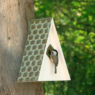 Swiss Chalet Bird House with Copper Shingled Roof