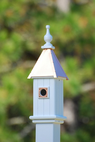 "Fancy Home Products 6"" Blue Bird Birdhouse 1 Compartment, Portal, Bright Copper Roof"