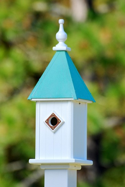 "Fancy Home Products 8"" Blue Bird Birdhouse 1 Compartment, Portal, Patina Copper Roof"