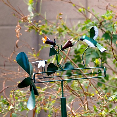 Hummingbird & Dragonfly Whirligig with Pole