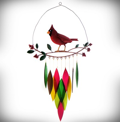 Cardinal on Branch Wind Chime