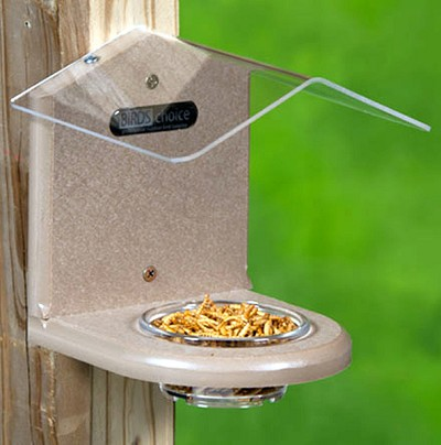 Recycled Plastic Pole Mount Mealworm Feeder w/Roof