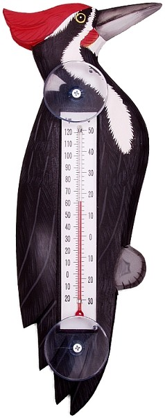 Woodpecker Window Thermometer Small