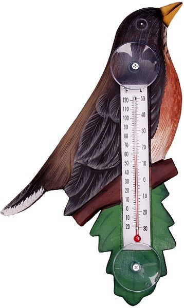 Robin on Branch Window Thermometer Small