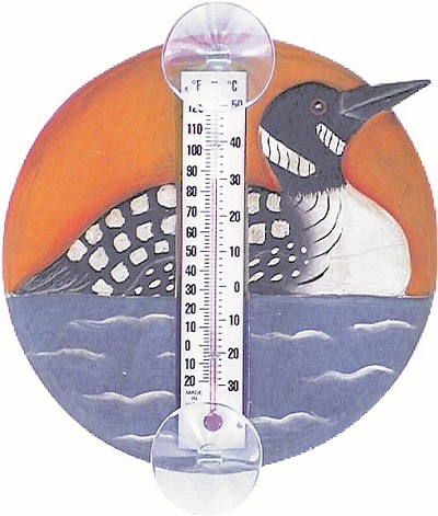 Loon in Lake Scene Window Thermometer Small