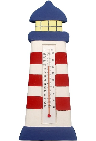Lighthouse Red & White Stripe Window Thermometer Large