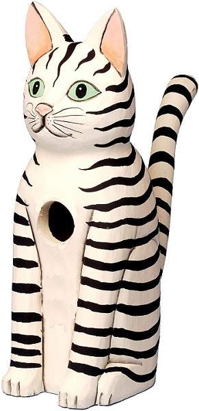 Sitting Black and White Striped Cat Birdhouse