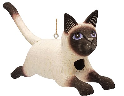 Leaping Siamese Cat Birdhouse
