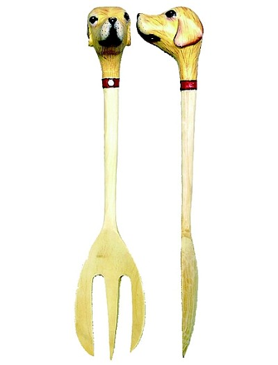 Yellow Lab Head Salad Server Set
