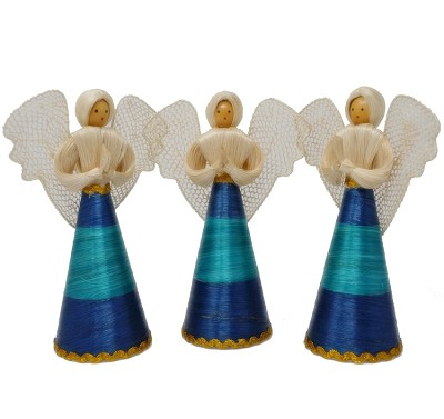 "Abaca Angel Sweeny 8"" Blue/Green Set of 3"