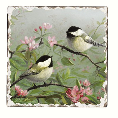 Chickadees #1 Tumbled Tile Coaster Set of 4