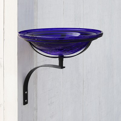 "Crackle Glass Birdbath 12"" Cobalt Blue with Wall Bracket"