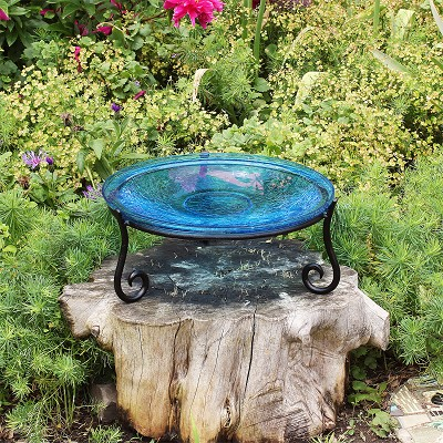 "Crackle Glass Bird Bath 14"" Teal with Short Stand II"