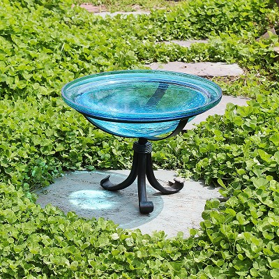 "Crackle Glass Bird Bath 12"" Teal with Tripod Stand"
