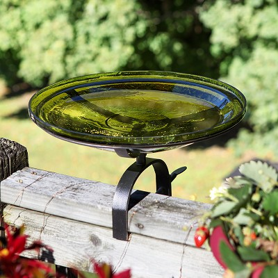 "Crackle Glass Birdbath 14"" Fern Green w/Over Rail Mount Bracket"