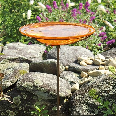 Crackle Glass Birdbath Stake Mandarin
