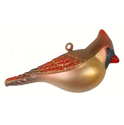 Cobane Studios Female Northern Cardinal Blown Glass Ornament