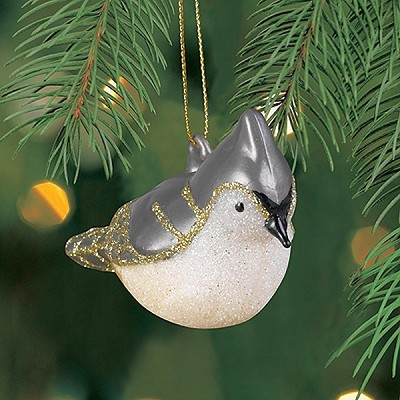 Cobane Studios Tufted Titmouse Blown Glass Ornament