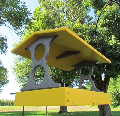 Recycled Plastic Fly-Through Bird Feeder Large Yellow/Gray