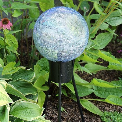"Crackle Glass Gazing Globe Lapis Blue 12"" (Stand sold separately)"